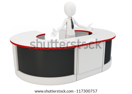 3d man businessman welcoming with open arms at helpdesk - stock photo
