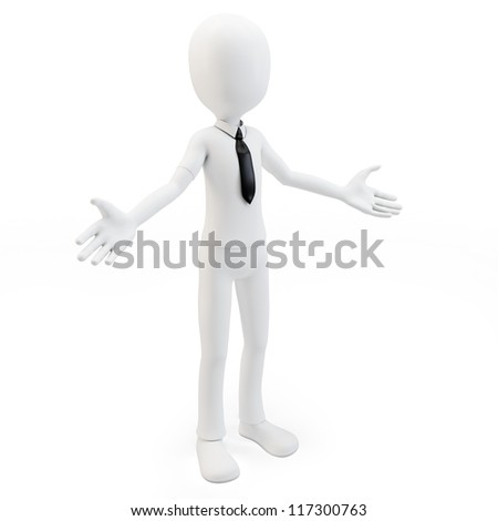 3d man businessman welcoming with open arms on white background - stock photo