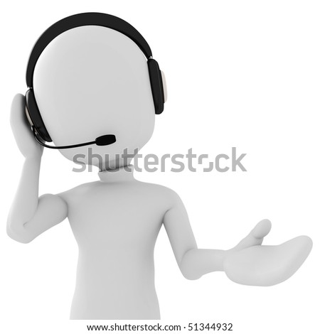 3d man - call center - stock photo