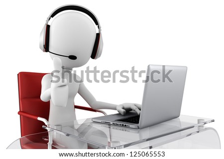 3d man call center ready to help - stock photo