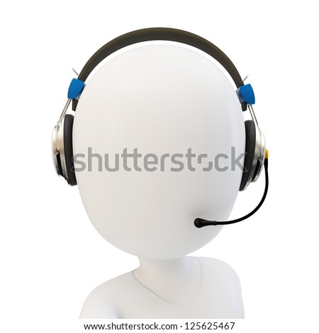 3d man call center support with headphones on white background - stock photo