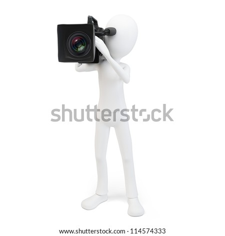 3d man cameraman with video camera on white background - stock photo