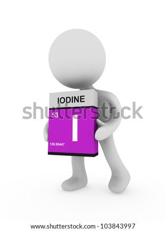 3d man carry a iodine box - stock photo