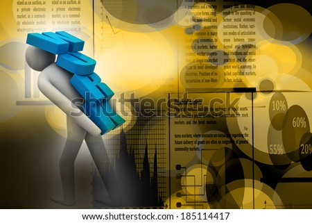 3d man carrying heavy work - stock photo