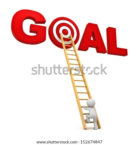 3d man climbing ladder to the red target in word goal isolated over white background, Business concept - stock photo
