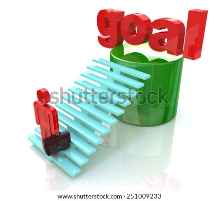 3D Man climbing ladder to the word goal, Business goal concept  - stock photo