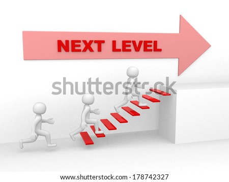 3d man climbs the ladder of next level - 3d render illustration - stock photo