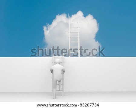 3d man climbs the ladder of success and a virtual career - 3d illustration - stock photo