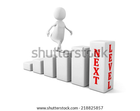 3d man climbs up to next level. success career concept. 3d render illustration - stock photo