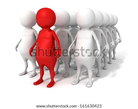 3d man concept leader of business team group people - stock photo