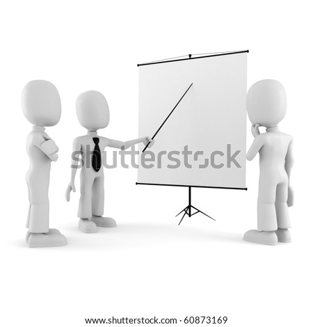3d man, conference, standing near a blank board - stock photo