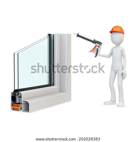 3d man Construction worker with a caulking gun and window profile on white background - stock photo