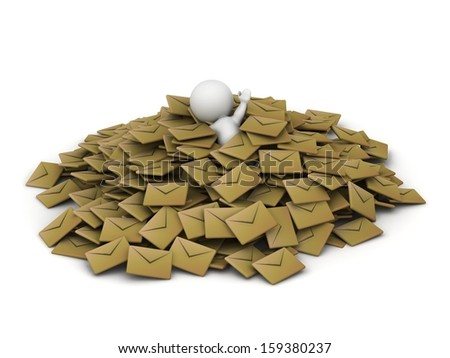 3D Man covered in pile of emails  - stock photo