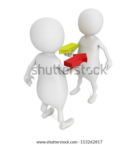 3d man dialogue with concept arrows on hands - stock photo