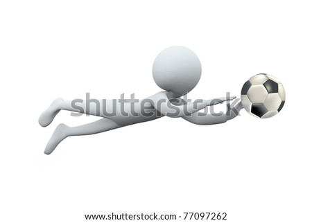 3D man diving for catching football - stock photo