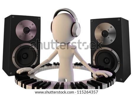3d man DJ - stock photo