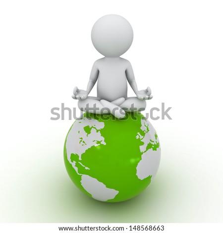 3d man doing meditation on green globe over white background - stock photo