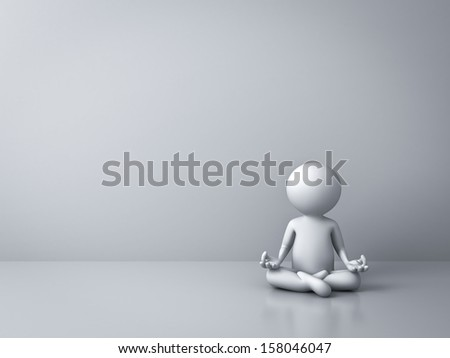 3d man doing meditation with empty white wall background - stock photo