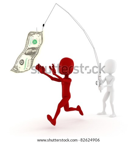 3d man dreaming for more money - business concept, on white background - stock photo