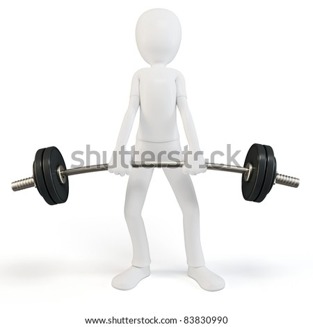 3d man easy lifting heavy barbell on white background - stock photo