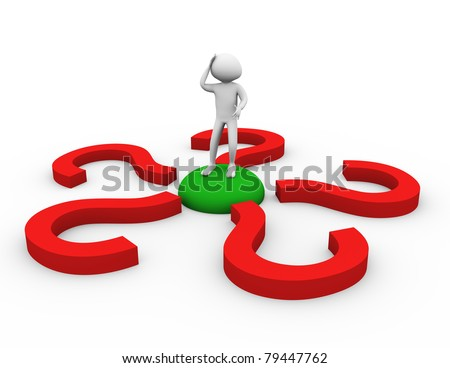 3d man encircled by question mark symbols. - stock photo