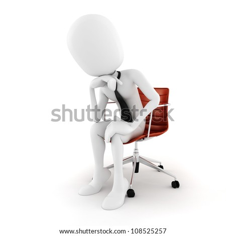 3d man executive sitting in a chair planing the next move , on white background - stock photo