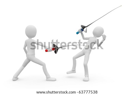 3d man fencers dueling isolated on white - stock photo