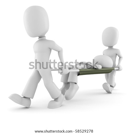 3d man first aid, on white background - stock photo