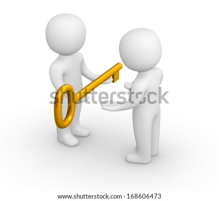 3d man giving golden key to another person. - stock photo