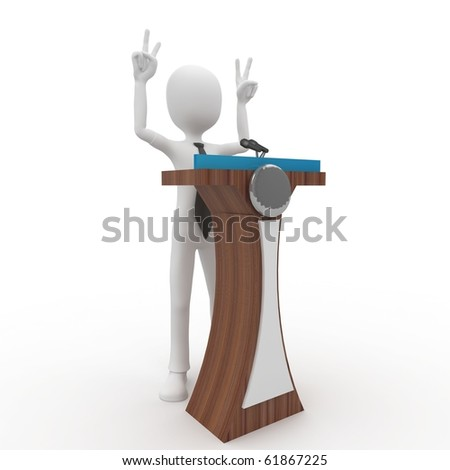 3d man giving speech with tribune isolated on white - stock photo