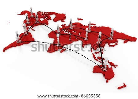3d man global business concept - stock photo