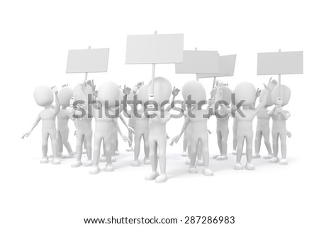 3d man -  group of protesting people on white background - stock photo