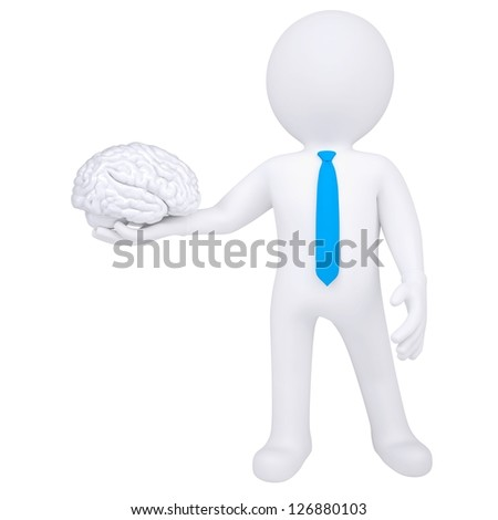 3d man holding a brain. Isolated render on a white background - stock photo