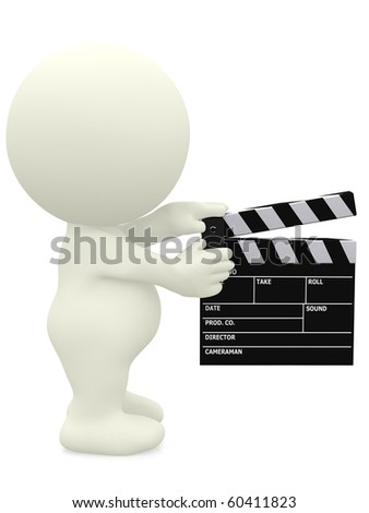 3D man holding a film klappe - isolated over a white background - stock photo