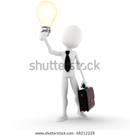 3d man holding a light bulb, isolated on white background - stock photo