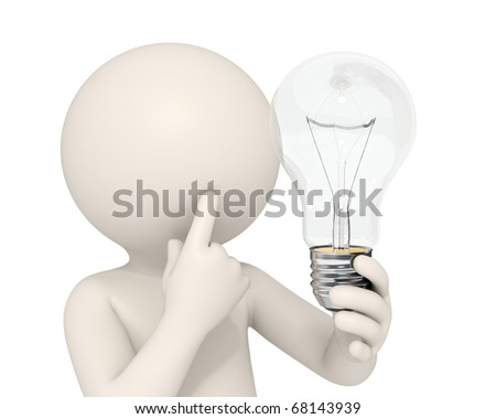3d man holding a light bulb while thinking - Idea concept - DOF - stock photo