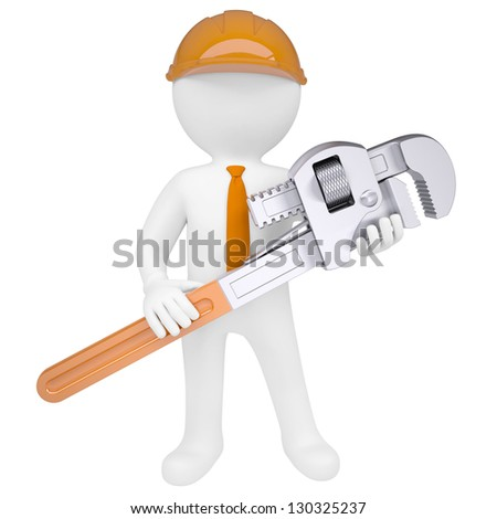 3D man holding a pipe wrench. Isolated render on a white background - stock photo