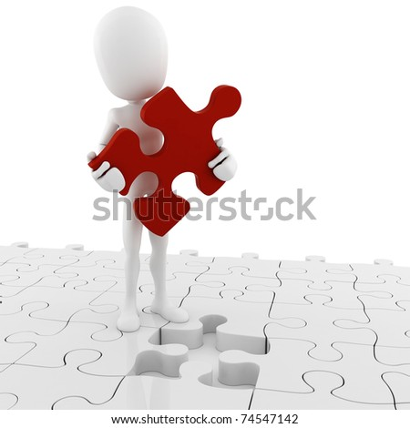 3d man holding a puzzle piece - stock photo