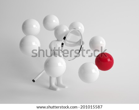 3d man holding a silver metal magnifying glass investigating a single different red ball in a circle of white balls in a conceptual image - stock photo