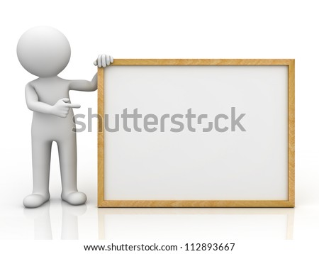 3d man holding blank board and pointing finger at it over white background with reflection - stock photo