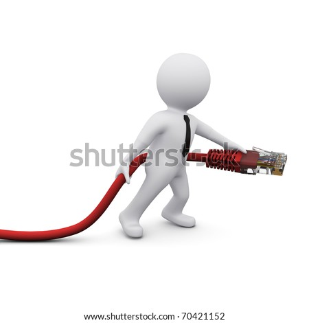 3D man holding computer USB connection device - stock photo