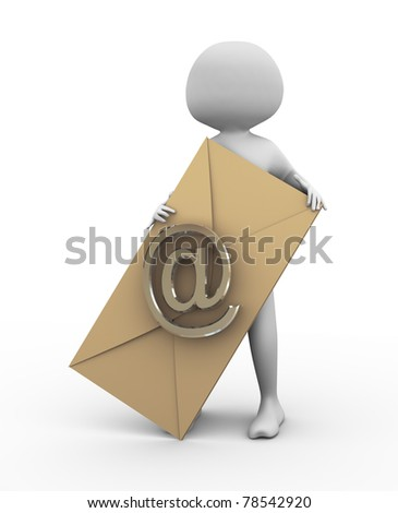 3d man holding envelope with at sign - stock photo