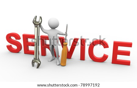 3d man holding screw driver and wrench with 'service' text. Concept of repair and maintenance - stock photo