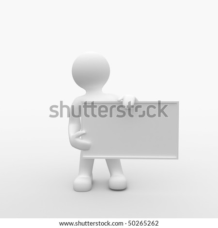 3d Man holding Sign - stock photo