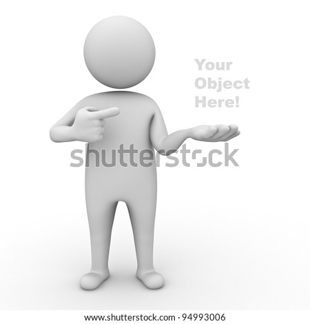 3d man holding your product and pointing finger at it on white background - stock photo
