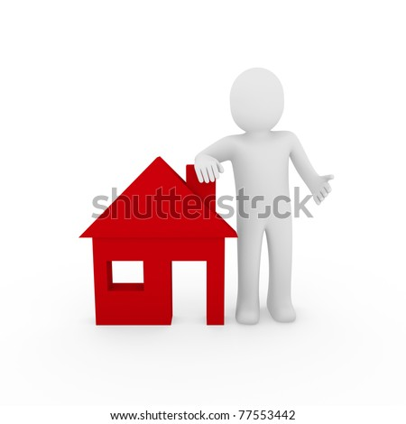 3d man house red home energie save estate - stock photo