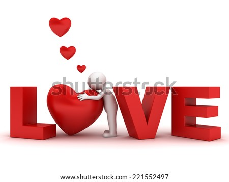 3d man hugging red heart in word love isolated over white background - stock photo