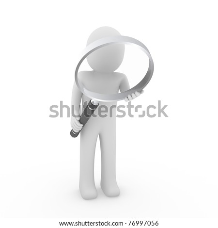 3d man human search magnifying glass lens seek - stock photo