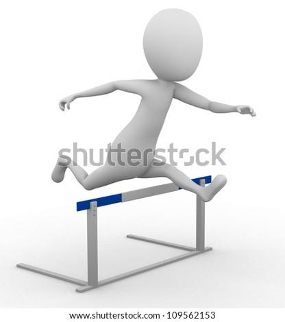 3D man hurdling - stock photo