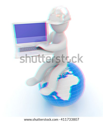 3d man in a hard hat sitting on earth and working at his laptop on a white background. 3D illustration. Anaglyph. View with red/cyan glasses to see in 3D. - stock photo